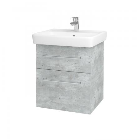Dřevojas - Koupelnová skříň Q MAX SZZ2 55 - D01 Beton / Úchytka T03 / D01 Beton (67512C)
