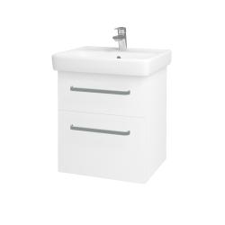 Dřevojas - Koupelnová skříň Q MAX SZZ2 55 - N01 Bílá lesk / Úchytka T01 / L01 Bílá vysoký lesk (61251A)
