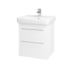 Dřevojas - Koupelnová skříň Q MAX SZZ2 55 - N01 Bílá lesk / Úchytka T02 / L01 Bílá vysoký lesk (61251B)