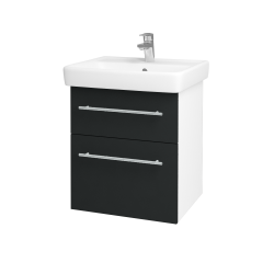 Dřevojas - Koupelnová skříň Q MAX SZZ2 55 - N01 Bílá lesk / Úchytka T02 / L03 Antracit vysoký lesk (61244B)