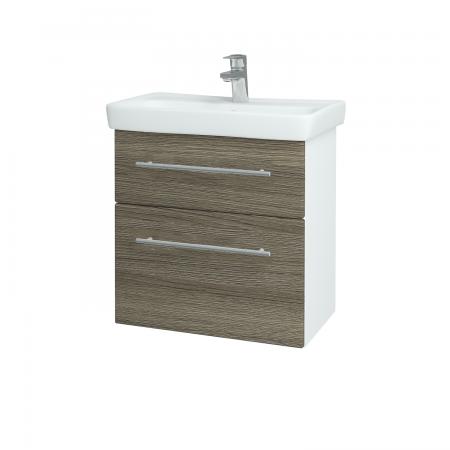 Dřevojas - Koupelnová skříň GO SZZ2 60 - N01 Bílá lesk / Úchytka T02 / D03 Cafe (27936B)