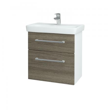 Dřevojas - Koupelnová skříň GO SZZ2 60 - N01 Bílá lesk / Úchytka T03 / D03 Cafe (27936C)