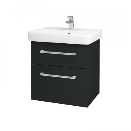Dřevojas - Koupelnová skříň Q MAX SZZ2 60 - L03 Antracit vysoký lesk / Úchytka T03 / L03 Antracit vysoký lesk (60377C)