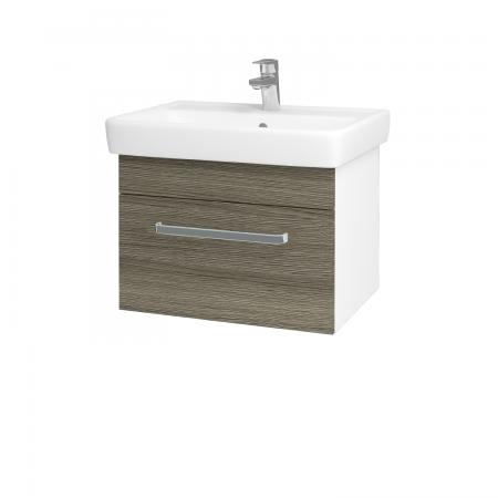 Dřevojas - Koupelnová skříň Q UNO SZZ 60 - N01 Bílá lesk / Úchytka T01 / D03 Cafe (20975A)