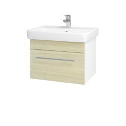 Dřevojas - Koupelnová skříň Q UNO SZZ 60 - N01 Bílá lesk / Úchytka T02 / D04 Dub (20043B)