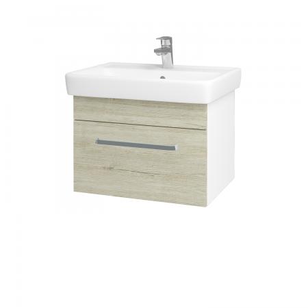 Dřevojas - Koupelnová skříň Q UNO SZZ 60 - N01 Bílá lesk / Úchytka T01 / D05 Oregon (23693A)