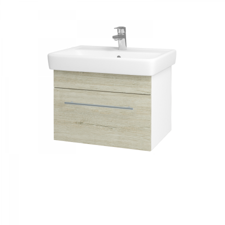 Dřevojas - Koupelnová skříň Q UNO SZZ 60 - N01 Bílá lesk / Úchytka T02 / D05 Oregon (23693B)