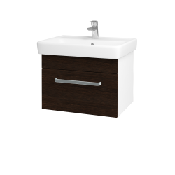 Dřevojas - Koupelnová skříň Q UNO SZZ 60 - N01 Bílá lesk / Úchytka T01 / D08 Wenge (20067A)
