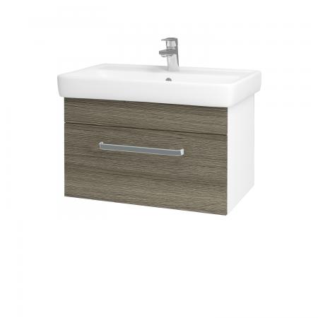 Dřevojas - Koupelnová skříň Q UNO SZZ 70 - N01 Bílá lesk / Úchytka T01 / D03 Cafe (20999A)