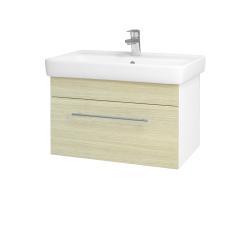 Dřevojas - Koupelnová skříň Q UNO SZZ 70 - N01 Bílá lesk / Úchytka T02 / D04 Dub (20074B)