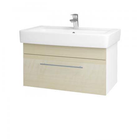 Dřevojas - Koupelnová skříň Q UNO SZZ 80 - N01 Bílá lesk / Úchytka T02 / D02 Bříza (21095B)
