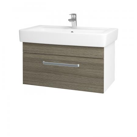Dřevojas - Koupelnová skříň Q UNO SZZ 80 - N01 Bílá lesk / Úchytka T01 / D03 Cafe (21064A)