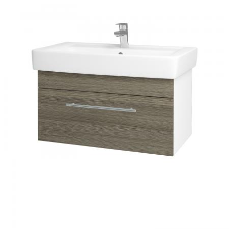 Dřevojas - Koupelnová skříň Q UNO SZZ 80 - N01 Bílá lesk / Úchytka T02 / D03 Cafe (21064B)
