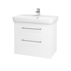 Dřevojas - Koupelnová skříň Q MAX SZZ2 70 - N01 Bílá lesk / Úchytka T03 / L01 Bílá vysoký lesk (60155C)