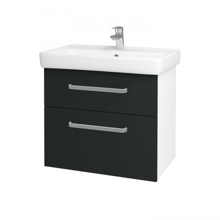 Dřevojas - Koupelnová skříň Q MAX SZZ2 70 - N01 Bílá lesk / Úchytka T01 / L03 Antracit vysoký lesk (60148A)