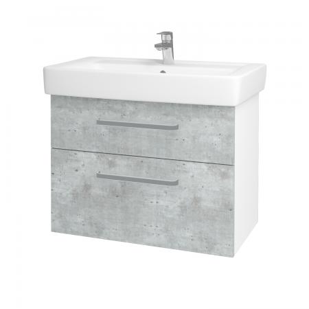 Dřevojas - Koupelnová skříň Q MAX SZZ2 80 - N01 Bílá lesk / Úchytka T01 / D01 Beton (67505A)