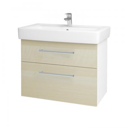 Dřevojas - Koupelnová skříň Q MAX SZZ2 80 - N01 Bílá lesk / Úchytka T03 / D02 Bříza (60087C)