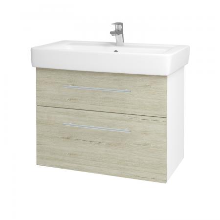 Dřevojas - Koupelnová skříň Q MAX SZZ2 80 - N01 Bílá lesk / Úchytka T02 / D05 Oregon (61749B)