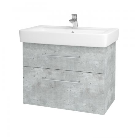 Dřevojas - Koupelnová skříň Q MAX SZZ2 80 - D01 Beton / Úchytka T03 / D01 Beton (67543C)
