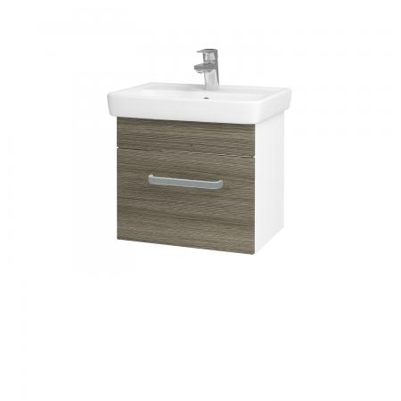 Dřevojas - Koupelnová skříň SOLO SZZ 50 - N01 Bílá lesk / Úchytka T01 / D03 Cafe (21118A)