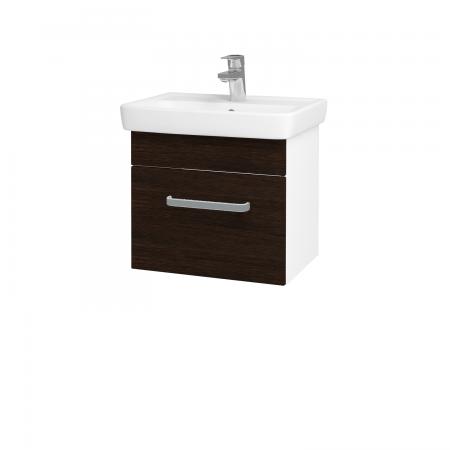Dřevojas - Koupelnová skříň SOLO SZZ 50 - N01 Bílá lesk / Úchytka T01 / D08 Wenge (21132A)