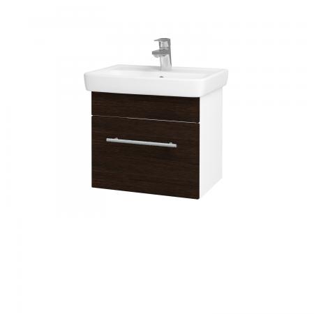 Dřevojas - Koupelnová skříň SOLO SZZ 50 - N01 Bílá lesk / Úchytka T02 / D08 Wenge (21132B)