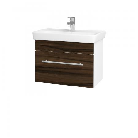 Dřevojas - Koupelnová skříň SOLO SZZ 60 - N01 Bílá lesk / Úchytka T02 / D06 Ořech (21897B)