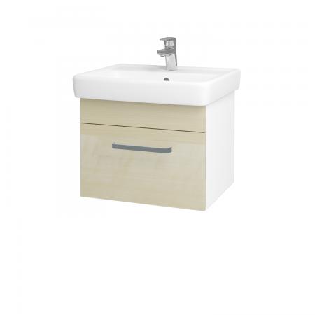 Dřevojas - Koupelnová skříň Q UNO SZZ 55 - N01 Bílá lesk / Úchytka T01 / D02 Bříza (20289A)