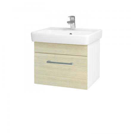 Dřevojas - Koupelnová skříň Q UNO SZZ 55 - N01 Bílá lesk / Úchytka T03 / D04 Dub (20265C)