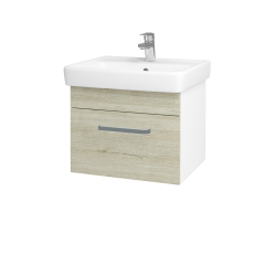Dřevojas - Koupelnová skříň Q UNO SZZ 55 - N01 Bílá lesk / Úchytka T01 / D05 Oregon (20302A)