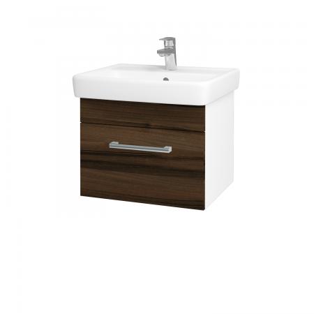 Dřevojas - Koupelnová skříň Q UNO SZZ 55 - N01 Bílá lesk / Úchytka T03 / D06 Ořech (20258C)