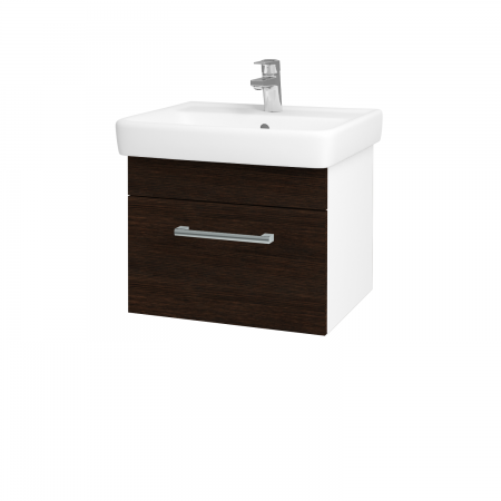 Dřevojas - Koupelnová skříň Q UNO SZZ 55 - N01 Bílá lesk / Úchytka T03 / D08 Wenge (20593C)