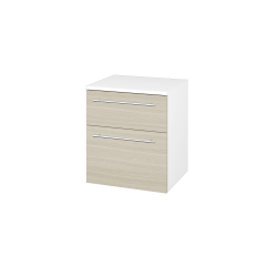 Dřevojas - Skříň spodní DOS SNZ2K  50 - N01 Bílá lesk / Úchytka T02 / D04 Dub (63231B)
