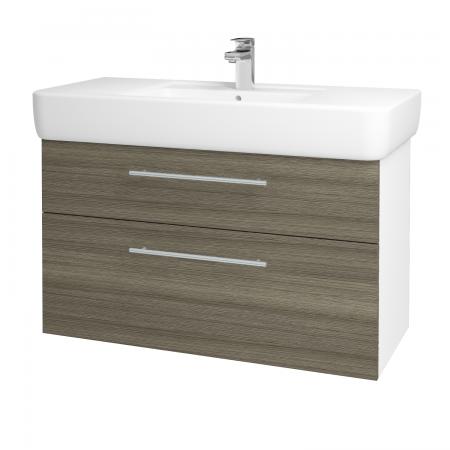 Dřevojas - Koupelnová skříň Q MAX SZZ2 100 - N01 Bílá lesk / Úchytka T02 / D03 Cafe (131814B)