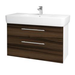 Dřevojas - Koupelnová skříň Q MAX SZZ2 100 - N01 Bílá lesk / Úchytka T02 / D06 Ořech (131845B)
