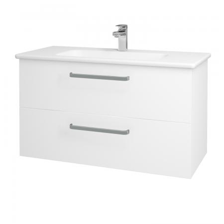 Dřevojas - Koupelnová skříň GIO SZZ2 100 - N01 Bílá lesk / Úchytka T01 / L01 Bílá vysoký lesk (130770A)