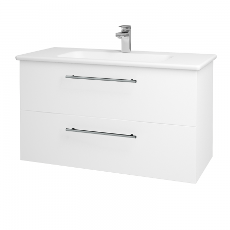 Dřevojas - Koupelnová skříň GIO SZZ2 100 - N01 Bílá lesk / Úchytka T02 / L01 Bílá vysoký lesk (130770B)