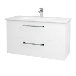 Dřevojas - Koupelnová skříň GIO SZZ2 100 - N01 Bílá lesk / Úchytka T03 / L01 Bílá vysoký lesk (130770C)
