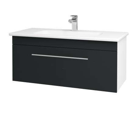 Dřevojas - Koupelnová skříň ASTON SZZ 100 - N01 Bílá lesk / Úchytka T02 / L03 Antracit vysoký lesk (137540B)