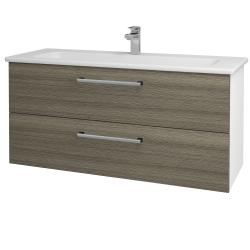 Dřevojas - Koupelnová skříň GIO SZZ2 120 - N01 Bílá lesk / Úchytka T03 / D03 Cafe (129910C)