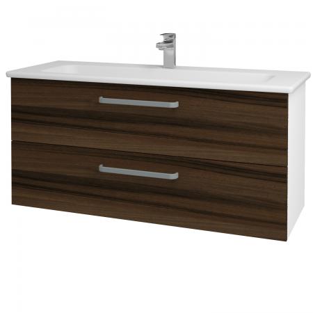 Dřevojas - Koupelnová skříň GIO SZZ2 120 - N01 Bílá lesk / Úchytka T01 / D06 Ořech (129941A)