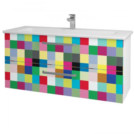 Dřevojas - Koupelnová skříň GIO SZZ2 120 - N01 Bílá lesk / Úchytka T01 / IND Individual (130022A)
