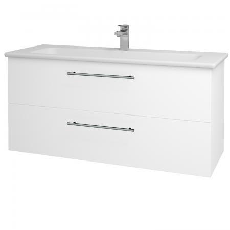 Dřevojas - Koupelnová skříň GIO SZZ2 120 - N01 Bílá lesk / Úchytka T02 / L01 Bílá vysoký lesk (130800B)