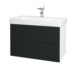 Dřevojas - Koupelnová skříň VARIANTE SZZ2 85 - N01 Bílá lesk / L03 Antracit vysoký lesk (164195)