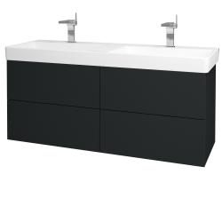 Dřevojas - Koupelnová skříň VARIANTE SZZ4 130 - L03 Antracit vysoký lesk / L03 Antracit vysoký lesk (165161)