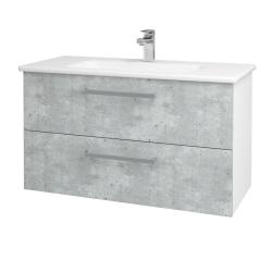 Dřevojas - Koupelnová skříň GIO SZZ2 100 - N01 Bílá lesk / Úchytka T01 / D01 Beton (129606A)