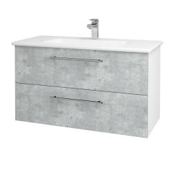 Dřevojas - Koupelnová skříň GIO SZZ2 100 - N01 Bílá lesk / Úchytka T02 / D01 Beton (129606B)
