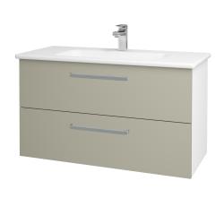 Dřevojas - Koupelnová skříň GIO SZZ2 100 - N01 Bílá lesk / Úchytka T01 / L04 Béžová vysoký lesk (129729A)