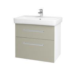 Dřevojas - Koupelnová skříň Q MAX SZZ2 70 - N01 Bílá lesk / Úchytka T03 / L04 Béžová vysoký lesk (115302C)