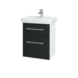 Dřevojas - Koupelnová skříň GO SZZ2 50 - N01 Bílá lesk / Úchytka T02 / L03 Antracit vysoký lesk (148300B)